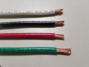30' EA THHN THWN 6 AWG GAUGE BLACK WHITE RED GREEN STRANDED COPPER  WIRE