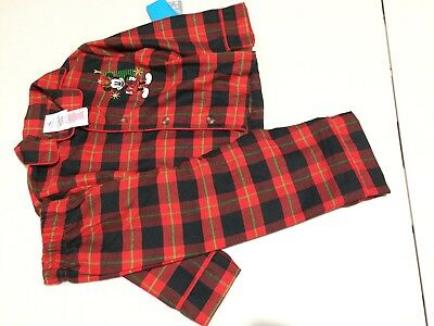 NWT Disney Store Christmas Plaid Boys Mickey Pajamas Holiday 2,7/8 (Boys Holiday Pajamas)