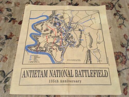 MAP on cloth ANTIETAM NATIONAL BATTLEFIELD 135th Anniversary 21 x 21