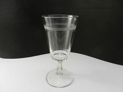 """EAPG Water Goblet Low Thumbprint & Triple Frost Bands 6 3/4"""" T ca 1900"""