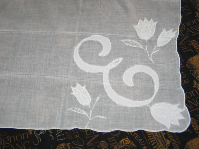 "Stunning VTG Appliqued Embroidered TULIPS Monogram ""E"" Handkerchief Hanky~Bridal"