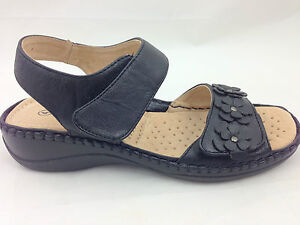 New Womens Wide Fit Leather Lined Comfort Velcro Wedge Sandals Black Bronze