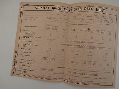WOLSELEY 6/80. 4/50. 8. series 2 & 3.          quick check over data guide sheet