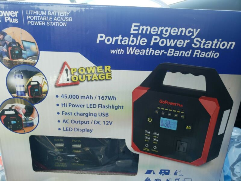 Go Power Plus Emergency Portable Power Station Charger W/ Weather Band Radio NEW