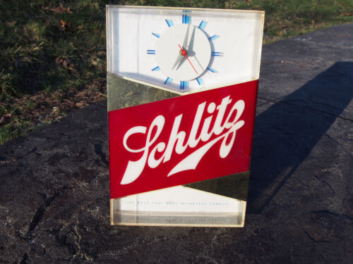 Vintage 1959 Schlitz Lighted Clock Beer Sign Cash Register Bar Light Hammer Bros