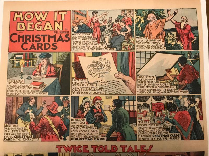 Christmas Comic!  HOW IT BEGAN Sunday Half Page Strip Christmas Cards! 1930's
