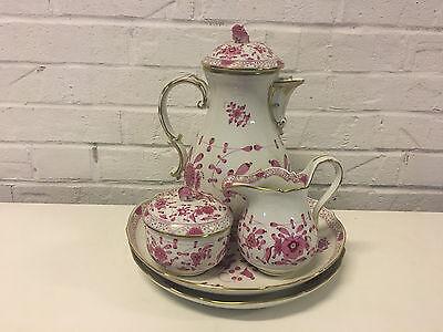 Vtg Antique German Meissen Porcelain Purple / Pink Indian 5 Piece Tea Coffee Set