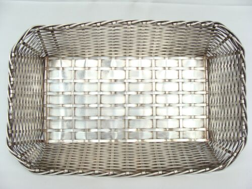 Vintage Made in France Woven Braided Heavy Silver plate Table Bread Basket