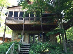 Chalet à louer cottage for rent bord de lac spa st-sauveur