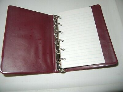 Vintage Burgundy Plastic Notebook 6 Side Ring Binder 90 Pages Lined White Paper
