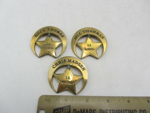 Vintage Lot of 3 Brass Reproduction US Marshal Famous Lawmen Chris Madsen Badge