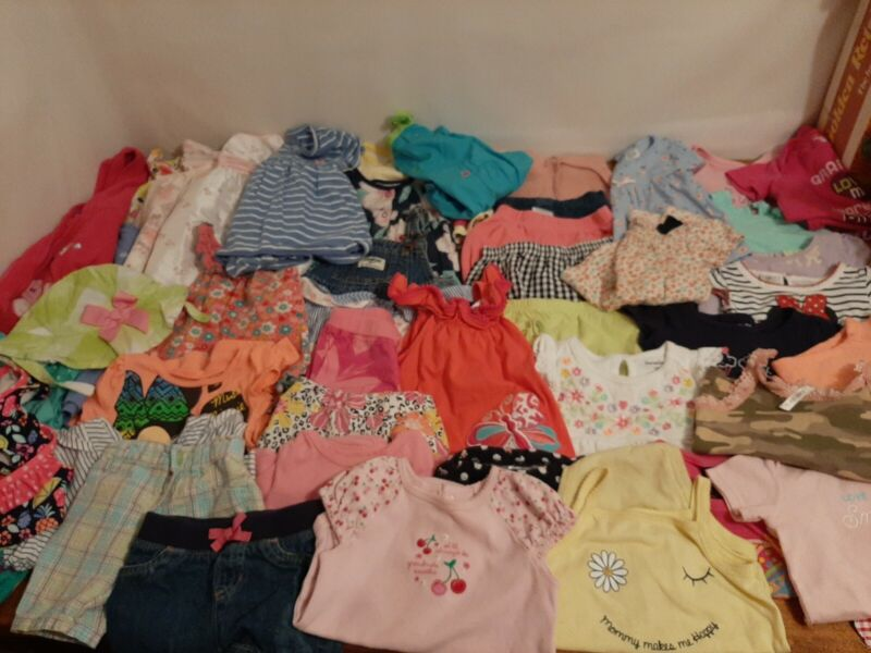 Lot Of 46, 12 Month Baby Toddler Girls Clothes,  Spring Summer