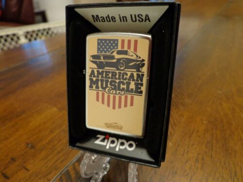 AMERICAN MUSCLE CARS AMERICAN FLAG ZIPPO LIGHTER MINT IN BOX