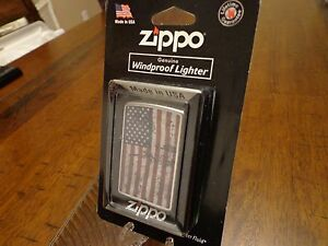 AMERICAN FLAG GRUNGE DISTRESSED LOOK US FLAG USA ZIPPO LIGHTER MINT IN PACKAGE