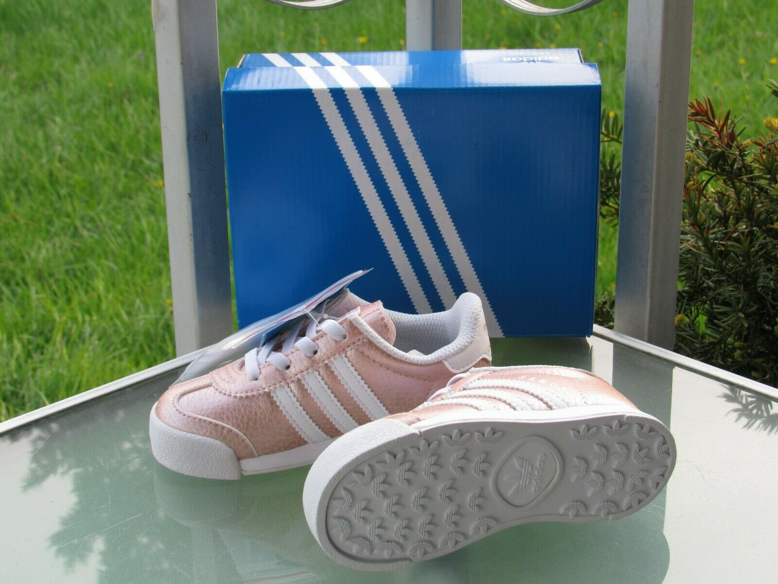 adidas Originals Samoa I Metallic Pink Ortholite Sneakers Little Girls size 7K 1
