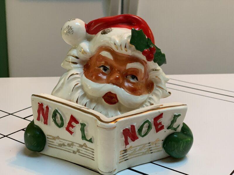 Vintage Lipper & Mann Creations Japan Ceramic Santa Noel Candle Holder-damaged