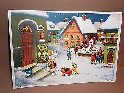 """antiker Adventskalender """"Christkind,Geschenkewagen,Teddy """" Erika-Kalender No.116"""
