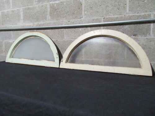 ~ SMALL PAIR ANTIQUE ARCHED TOP TRANSOM WINDOWS ~ 31 X 16 ~ SALVAGE