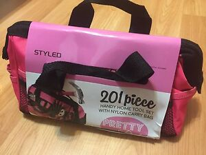 201 Piece Household Tool Kit in a Soft-Sided Tool Bag- Pink