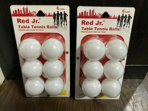 Lot of 2 Red Jr. 6 Pack Ping Pong Balls 12 Total 40mm Table- NEW Regulation Size