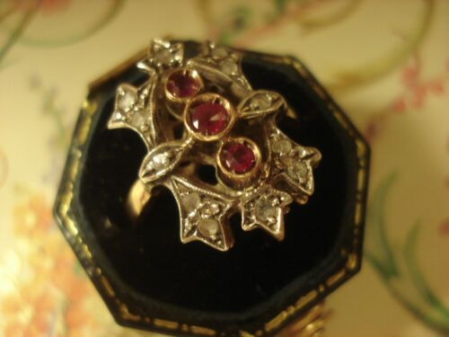 Beautiful Antique Inspired: Rose Cut  Ruby Gemstones &  Diamonds Silver Set Ring