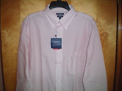 NWT NEW mens white fine red striped CROFT & BARROW fitted easy care dress -