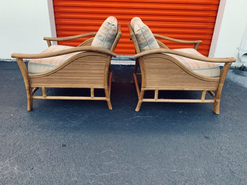 OUTSTANDING PAIR OF VINTAGE RATTAN LOUNGE CHAIRS ATTRIBUTED TO McGUIRE FURNITURE