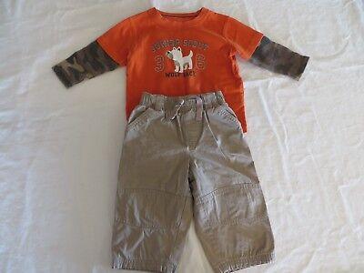 Carters Boys Outfit Khaki Pants & Orange LS Layered Look Shirt Dog 18 Mos #6879