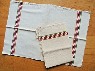 VINTAGE Towel French napkin cotton hemp striped kitchen antique cloth