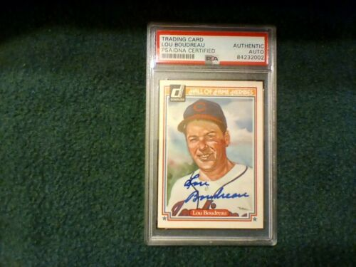 1983 Donruss Lou Boudreau Hall Of Fame Heroes Signed PSA Authenticated