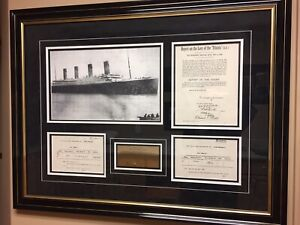 Framed replicas of authentic Titanic documents