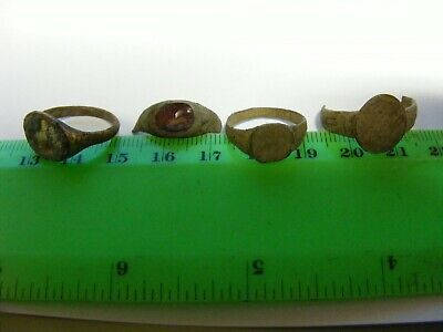 Lot of 4 Ancient  European Bronze Rings..one with