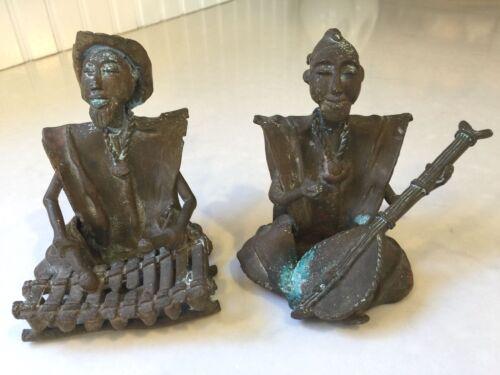 2 Vintage Musician Folk Art Metalware Tribal Figures Hand Crafted Heavy Bronze