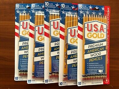 5 X U.s.a Gold Premium American Wood 2 Pencils 10 Pack Pre Sharpened