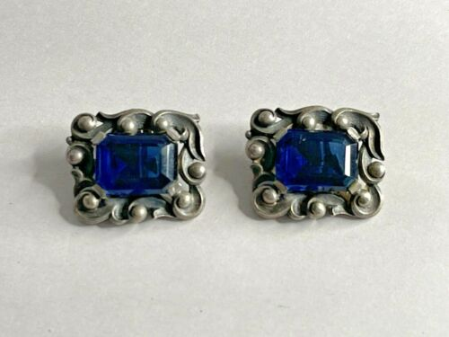 Antique Sterling Silver and Blue Stone Clip Earrings Art Nouveau