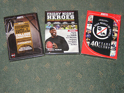 3 New Factory Sealed Sports Dvds College Basketball  Football  Boxing  Espn