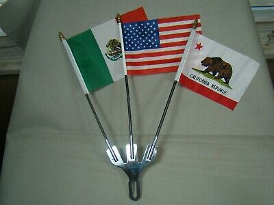 3 flag holder with 3 flags Mexico, USA & California license plate topper flag