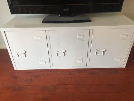 White horizontal locker cabinet - used for tv