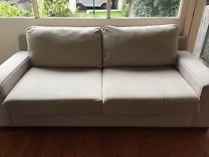 Beige Freedom Signature 2.5 seat sofa with matching ottoman Naremburn Willoughby Area Preview