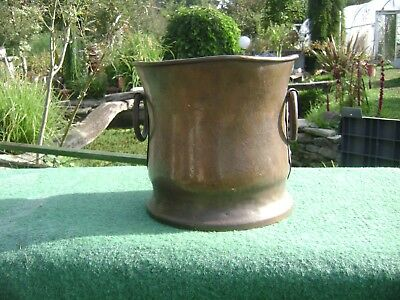 VINTAGE FRENCH COPPER TWO HANDLED PLANTER/CAULDRON HAND MADE