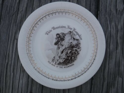 ENCO Views Of America OLD MAN OF THE MOUNTAINS NH Collectors Plate 22K Gold vint
