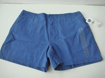 NWT Women's GAP Shorts Embroidered Pockets Blue