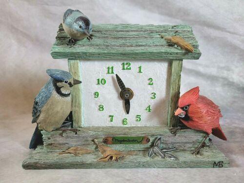 Marjolein Bastin Bird House Clock  Hallmark  Cardinal Blue Jay