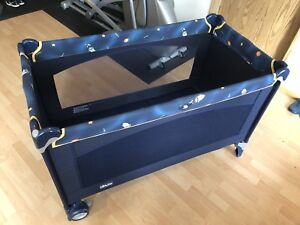 Large sized play yard or travel bed with custom mattress