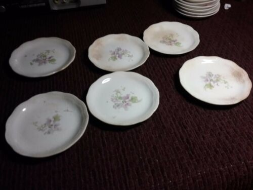 "6 vintage Porcelain Mini Butter Plates/Pats DIPPING  Flower Design 3"""