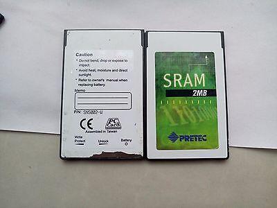 PRETEC 2MB PCMCIA SRAM Card+EXTRA NEW BATTERY