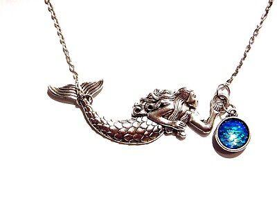 SILVER MERMAID PENDANT SCALES CAMEO bib siren iridescent aqua blue necklace D1 1 Cameo Pendant Necklace