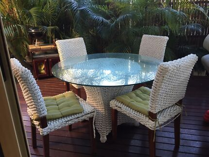 White Cane Wicket Bamboo Dining Setting Table And 4 Chairs Part 60