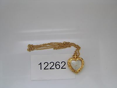 Vintage Jewelry Watch Heart Pendant Necklace  Gold Tone Women's Quartz 12262