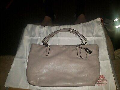 "Coach Gray Leather Handbag Purse & Drawstring Bag 16"" x 10"""